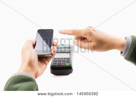 Mobile payment and omnichannel for business money by hand hold mobile pay with terminal with another finger on white background.
