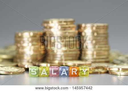 Close up  Salary text written on colorful dices