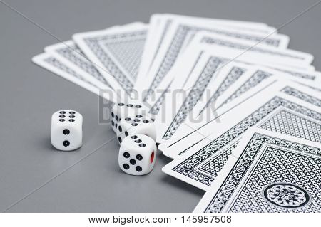 Close up of dices and card on the table