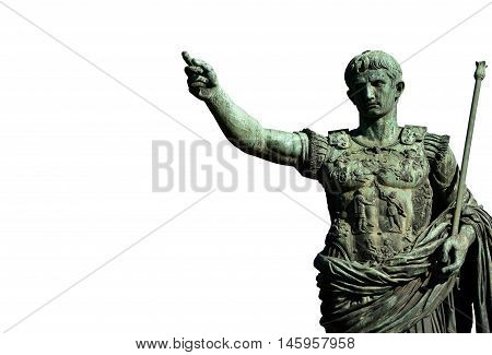 Augustus bronze monument in front of Imperial Forum in the center of Rome (on white background)
