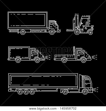 Transportation of goods, shipping, freight transport. Transport of containers on trucks. A set of trucks