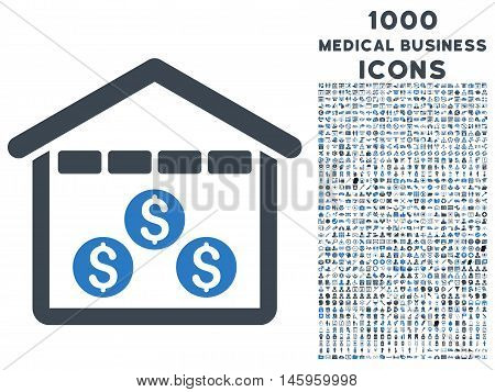 Money Depository vector bicolor icon with 1000 medical business icons. Set style is flat pictograms, smooth blue colors, white background.