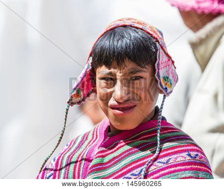 Young Man In Traditional Quechua Clothes