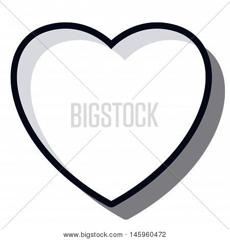 black and white heart icon. love and romantic theme. Isolated design. Vector illustration