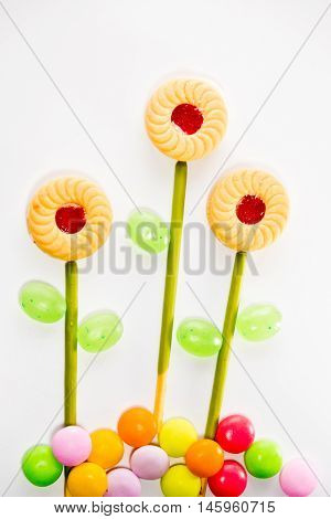 Colorful of the Sweetmeat and Candy orderly as flower
