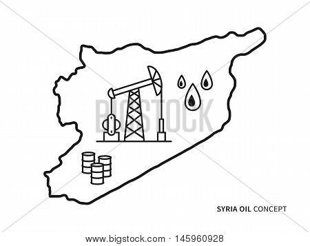 Syria Oil Linear Vector Illustration