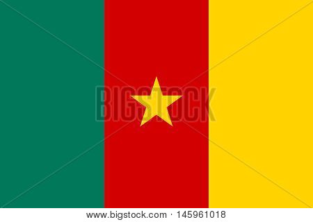 Flag of Cameroon in correct size proportions and colors. Accurate official standard dimensions. Cameroonian national flag. African patriotic symbol banner element background. Vector illustration
