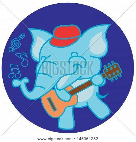 Elephant playing guitar illustration vector art design