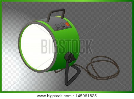 searchlight isometric flat vector. floodlight 3d illustration. flashlight isolated on white background
