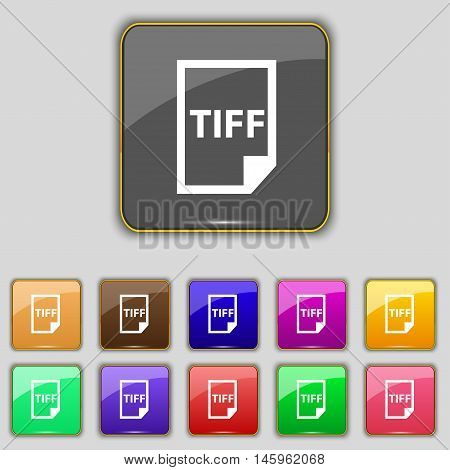 Tiff Icon. Sign. Set With Eleven Colored Buttons For Your Site. Vector