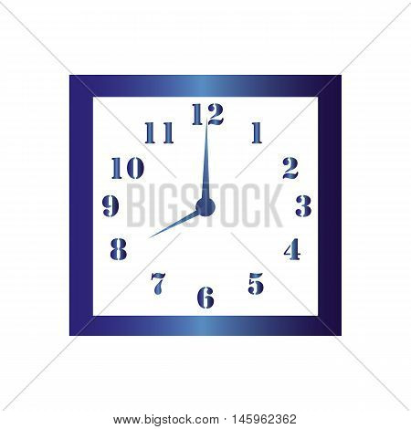 Isolated wall square clock. Vector illustration on white background.Eight hours. Eight o'clock. 8 o'clock