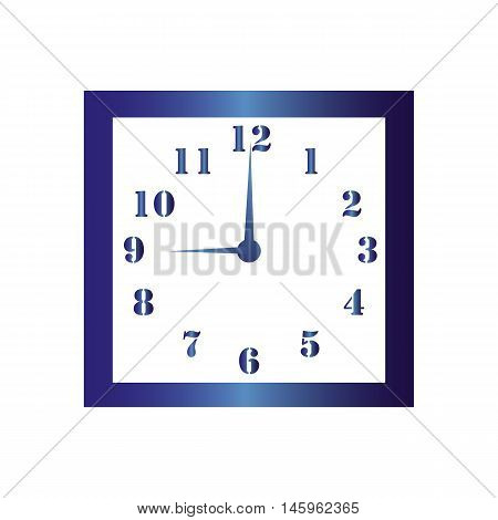 Isolated wall square clock. Vector illustration on white background.Nine hours. Nine o'clock. 9 o'clock.