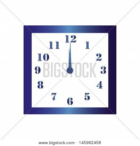 Isolated wall square clock. Vector illustration on white background. Twelve hours. Twelve o'clock. 12 o'clock.