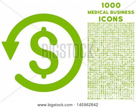 Chargeback vector icon with 1000 medical business icons. Set style is flat pictograms, eco green color, white background.