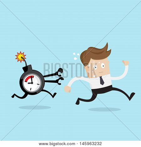 businessman running from time bomb business concept cartoon vector illustration