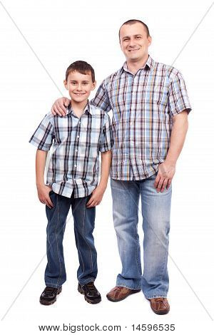 Father And Son Isolated On White