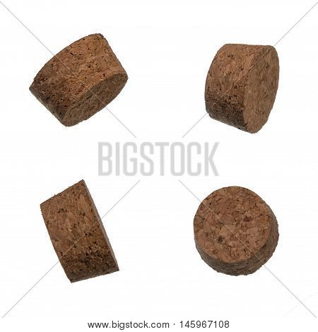 Set of cork bungles isolated over white