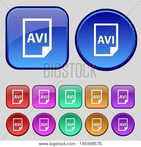 Avi Icon Sign. A Set Of Twelve Vintage Buttons For Your Design. Vector