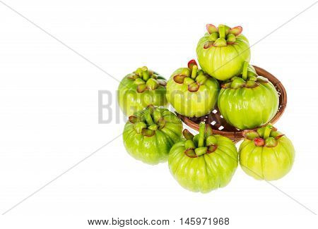Garcinia Cambogia Fresh Fruit, Isolated On White. Fruit For Diet And Good Health.