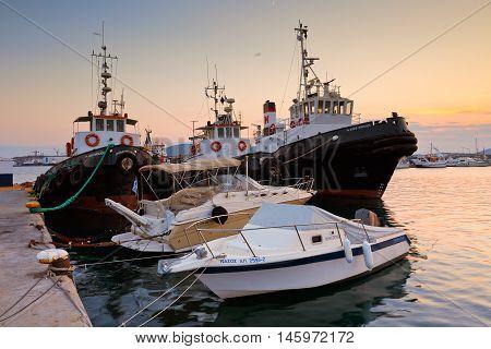 ATHENS, GREECE - SEPTEMBER 05, 2016: Port of Piraeus as seen from a marina in Perama on September 05, 2016.