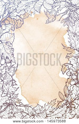 Fall Festival vertical frame or border. Greeting card, flyer or poster template. Sketch style autumn leaves on grunge background. Elaborate hand drawing. Vintage design. EPS10 vector illustration.