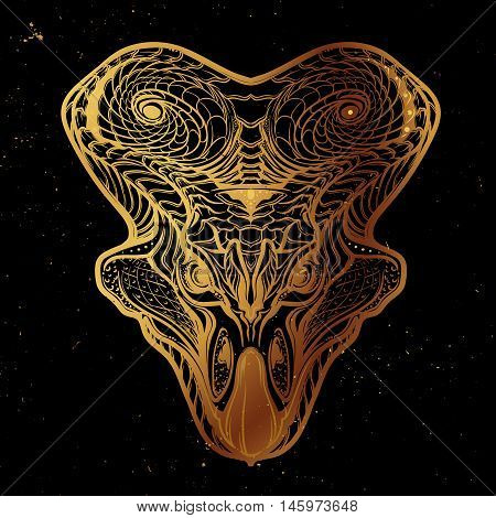 Hand Drawn detailed sketch of the Protoceratops head. Intricate decorative scale ornament on the neck collar. Tattoo design. Gold on black nightsky background. EPS10 vector illustration.