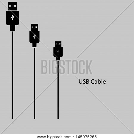USB a cable on a gray background. Vector illustration