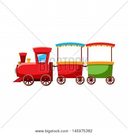 Children locomotive icon in cartoon style isolated on white background. Attraction symbol vector illustration