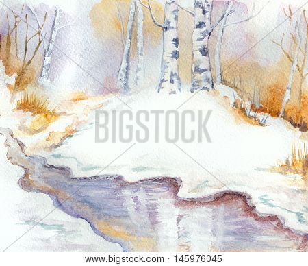winter landscape with river birch trees and snow. hand painted watercolor illustration