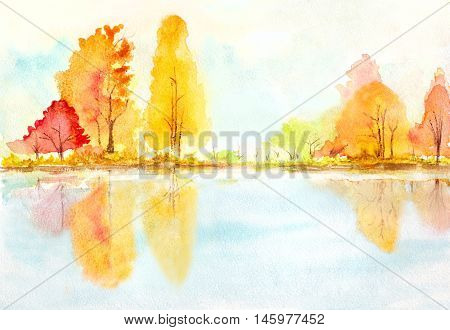autumn trees with reflection in a lake. abstract watercolor landscape illustration