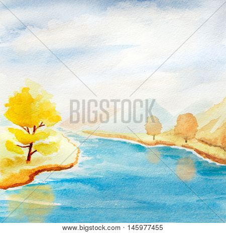 abstract watercolor landscape with autumn trees blue river and hills