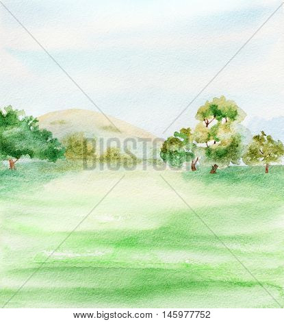 abstract background landscape with trees bushes sky and grass. watercolor illustration