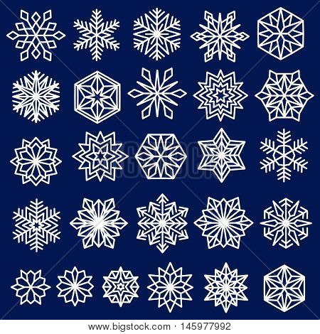 Snowflakes Set. Line design snow flakes, isolated on blue background. Vector snow Christmas decoration for greeting card, winter sales banner. New Years design elements collection.