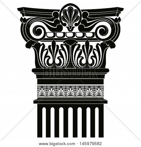 Vector image of ancient Greek columns with pilasters.