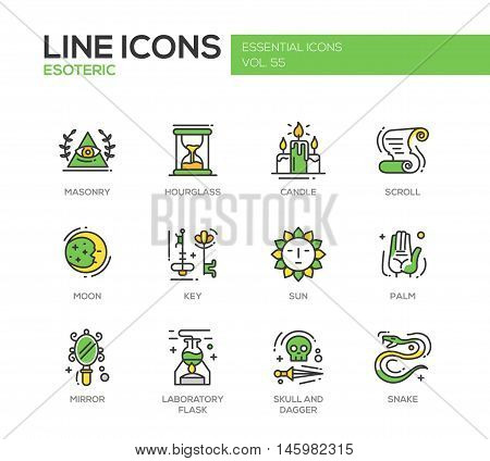 Esoteric - set of modern vector line design icons and pictograms. Masonry, hourglass, candle, scroll, moon, key, sun, hand palm, mirror, laboratory flask skull and dagger snake