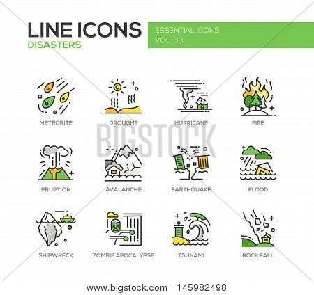 Disasters - set of modern vector line design icons and pictograms. Meteorite, drought, hurricane, fire, volcano eruption, avalanche, earthquake, flood, shipwreck, zombie apocalypse tsunami rock fall