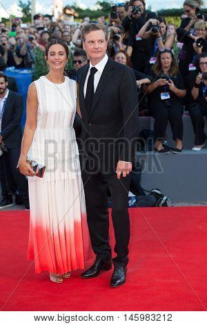 Colin Firth, Livia Giuggioli  at the premiere of Nocturnal Animals at the 2016 Venice Film Festival. September 2, 2016  Venice, Italy