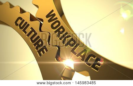 Workplace Culture on Mechanism of Golden Metallic Cog Gears. 3D Render.