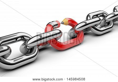 Chain with pencil as link. 3d render on a white background.