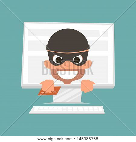 Thief holding a credit card. Concept of safe online shopping. Vector Illustration
