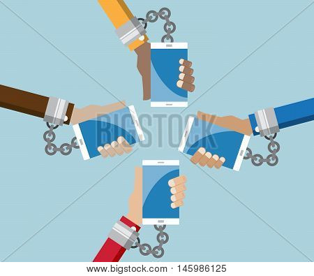 mobile in hand with shackle addiction social media concept vector illustration