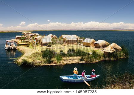 Peru floating Uros islands on the Titicaca lake the largest highaltitude lake in the world (3808m). Theyre built using the buoyant totora reeds that grow abundantly in the shallows of the lake.