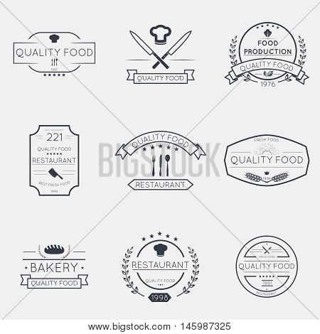 Set of retro vintage thin line badges and emblems signs for logotype coat of arms banners icons.