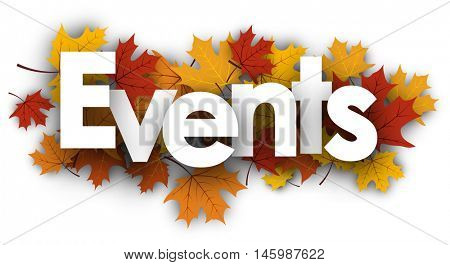 Events white background with golden maple leaves. Vector illustration.