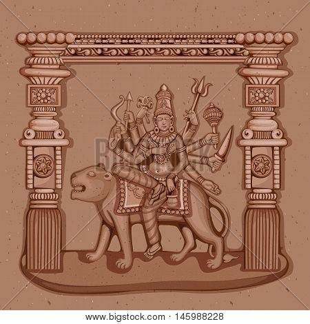 Vector design of Vintage statue of Indian Goddess Chandraghanta sculpture one of avatar from Navadurga engraved on stone