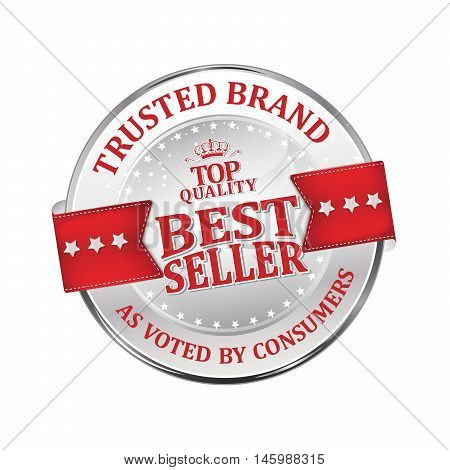 Trusted brand, as voted by consumers, best seller, top quality - shiny luxurious metallic red icon / ribbon for retailers, vector