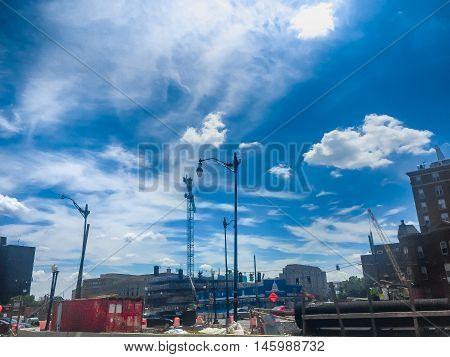 Crane piping and heavy construction to create three new city blocks in Washington DC