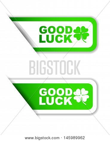 This is green vector paper sticker good luck (two variant)