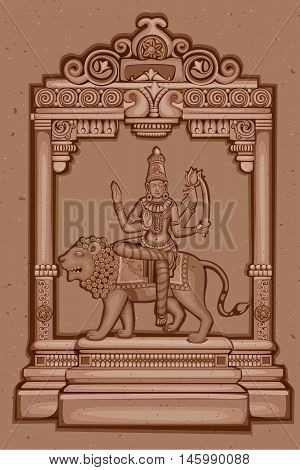 Vector design of Vintage statue of Indian Goddess Katyayani sculpture one of avatar from Navadurga engraved on stone