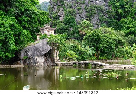 Tam Coc Natioanl Park Karst formation in the water Most spectacular scenery in Vietnam's